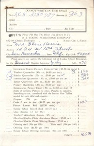 Order Form (Harris) requesting Sunday School Literature from D.J. Young Publishing Company, 1970 July 10