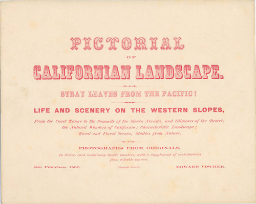 Broadside for Pictorial of California Landscape