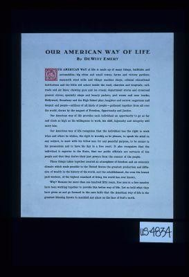 Our American way of life by DeWitt Emery ... Let us hold what they have given us and go forward in sure faith that the American way of life is the greatest blessing known to mankind any place on the face of God's earth