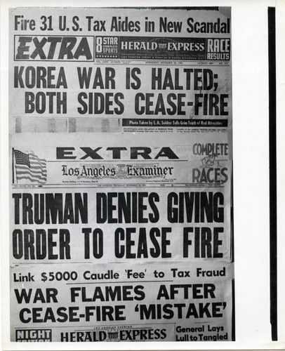 Photograph of two newspaper front pages regarding false cease fire in Korean War