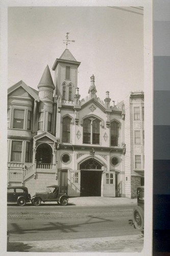 Firehouse on California St. (recently razed, brick-by-brick, to be re-erected somewhere else), north side of street, 1932