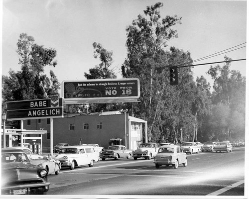 Vote No on Proposition 18 billboard, North Hollywood, 1958