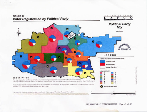 Calisphere Demographic Map Of Registered Voters By Political Party - Demographic map