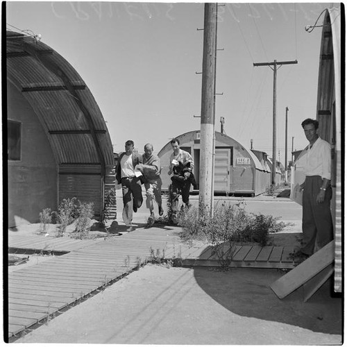 Military Surplus Quonset Huts For Sale >> Calisphere Four Veterans At Port Hueneme For A Quonset Hut