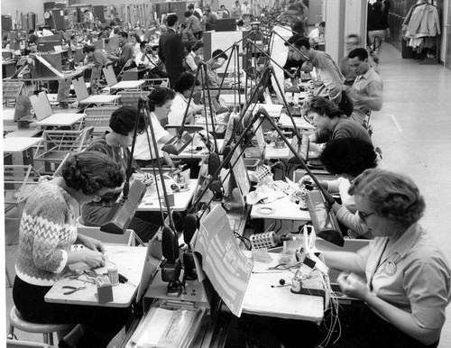 Workers creating microcomputer boards, 1960s--International Association of Machinists, District Lodge 727