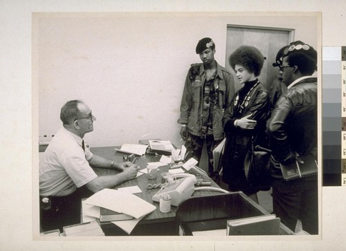 Kathleen Cleaver and Panthers in Prosecution's office