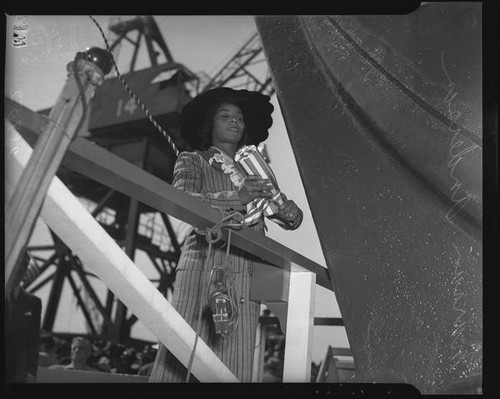 Marian Anderson christens the liberty ship Booker T. Washington