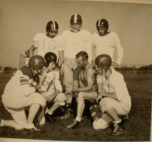 Analy High School Tigers football, 1953--Coach Walt Foster and six football players