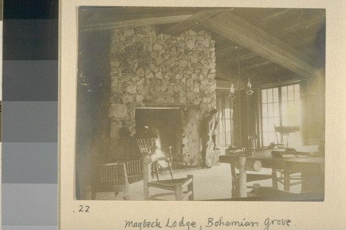 Maybeck Lodge, Bohemian Grove. [Herman George Scheffauer posing by fireplace.]