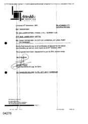 [Letter from Atteshlis Bonded Stores Ltd to Sue James Schiavetta regarding certificate copies and stock report]