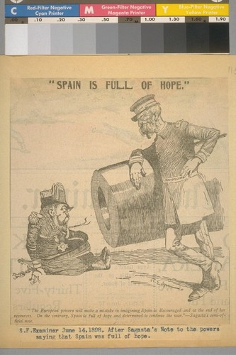 S. F. [San Francisco] Examiner, June 14, 1898, after Sagasta's Note to the powers saying that Spain was full of hope