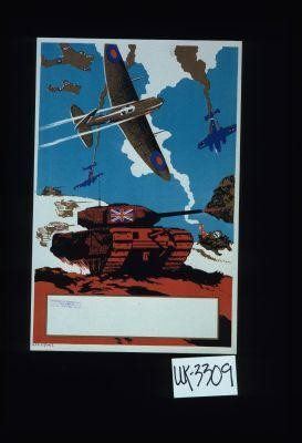Poster depicting an armored tank and airplanes