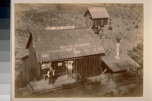"Home of the Solid Ten [Men on stage at Blue Lakes Cannery. ""Beatty, Photo, Ukiah"" written on stage]"