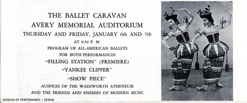 Brochure for Ballet Caravan performance at Avery Memorial Auditorium, January 6 and 7, 1938
