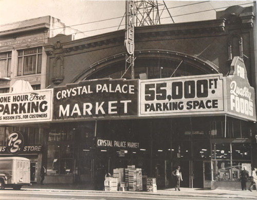 [Front of the Crystal Palace Market on Market Street]