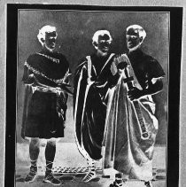 "Photostatic copy of ""The Three Booth Brothers, John Wilkes, Junius Brutus, and Edwin a 19th century family of actors, in 'Julius Caesar'. Their only appearance together on the stage, 1864."""