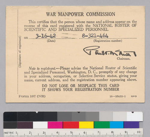 War Manpower Commission Registration Card certifying that Alfred Tarski is registered with the National Roster of Scientific and Specialized Personnel