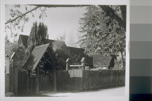 Randolph School, Berkeley: [exterior, view of entrance gate]