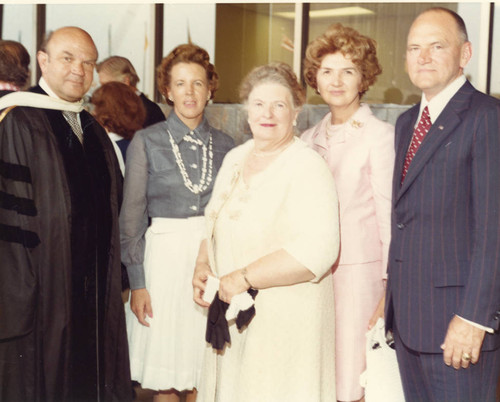 L to R: Dr. M. Norvel Young, Unknown, Mrs. Pepperdine, Mrs. Helen Young, Patrick Gray (Color)