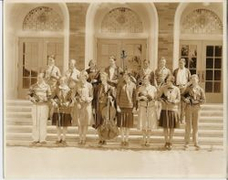 Analy Union High School music class picture for yearbook Azalea, about 1927, taken on the steps of Analy High