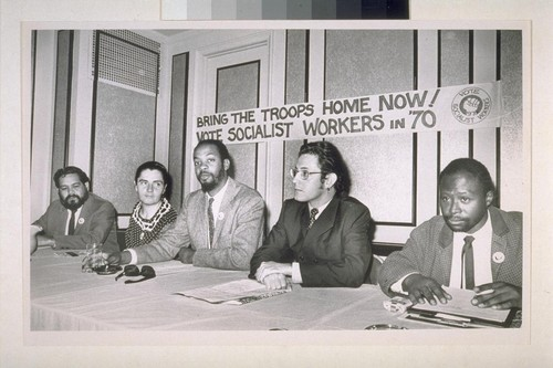 Socialist Workers candidates. (Left to right) Froben Lozada for attorney general, Dianne Feely, for U.S. Senator, Herman Fagg, for Govenor, Antonio Camejo for Superintendent of Public Instruction, Phil Connor, for State Treasurer