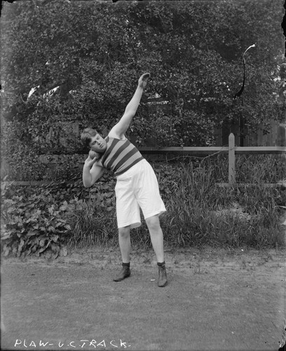 """Plaw [in shot put position], U.C. track, 1899,"" University of California at Berkeley. [negative]"