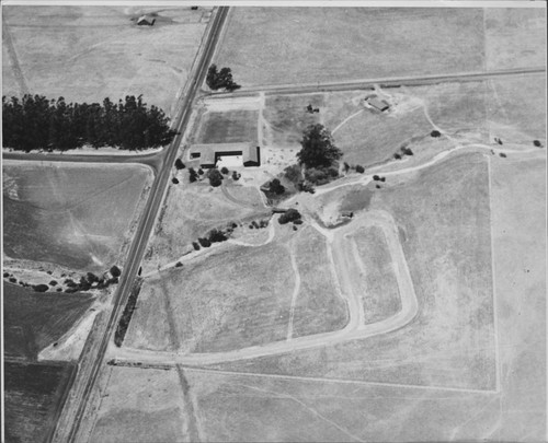 Aerial view of the Petaluma Adobe, Petaluma, California, 1962