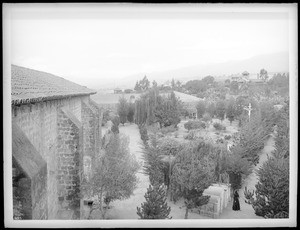 Mission Santa Barbara, showing cemetery from church tower California, 1898