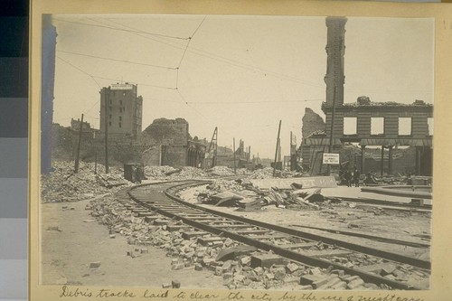 Debris tracks laid to clear the city by the use of freight cars