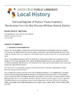 National Register of Historic Places Inventory: Nomination Form for the Mission Hill Area Historic District