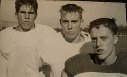Analy High School Tigers football, 1953--team members Butch Blacksheer, Bob Foster and Russ Reade