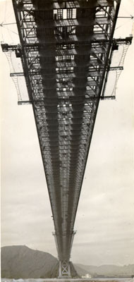 Calisphere: [View of underside of the Golden Gate Bridge while it