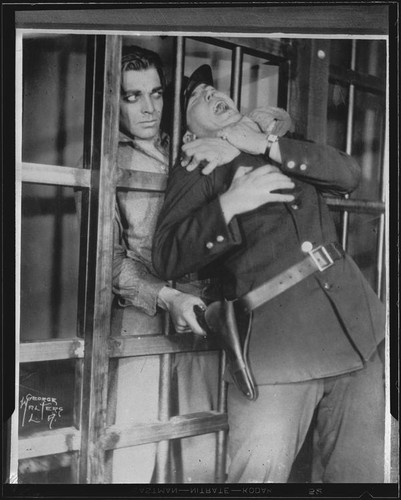 "Actors Clark Gable and Adrian Morris in stage play ""The Last Mile,"" Majestic Theatre, Los Angeles, 1930"