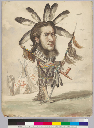 [Watercolor caricature of Alphonse Pinart in Native American costume.]