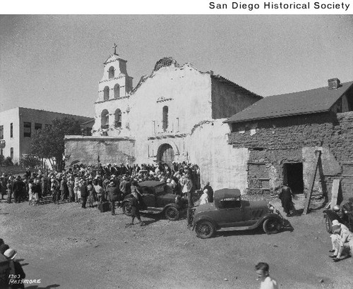 People gathered for the rededication ceremony of Mission San Diego de Alcala