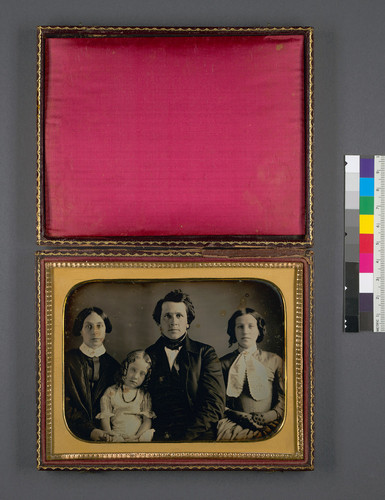 [Edward Brown Walsworth with his wife Sarah A. Pierson Walsworth, small daugther Cornelia, and niece Elizabeth J. Brumagim.]