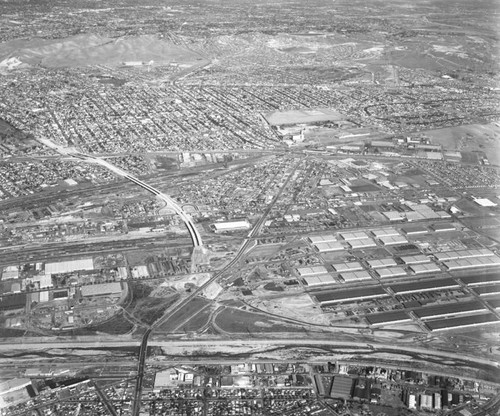 Aerial view of Central Manufacturing District, looking northeast