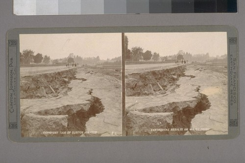 Earthquake results on water front. Photographer: Clinton Johnson. Photographer's number: 52. Place of publication: Los Angeles, Cal. Date of publication: c1906. Photographer's series: San Francisco Earthquake Series