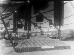 "Gravenstein Apple Show display by Spring Hill District showing a steam boat named the ""Gravenstein"" displayed on a mound of apples"