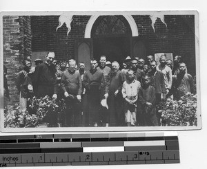 Fr. Dietz and a group of priests and victims of leprosy at Sheklung, China, 1920