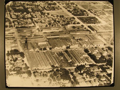 Stockton - Buildings: Aerial view of Holt Factory