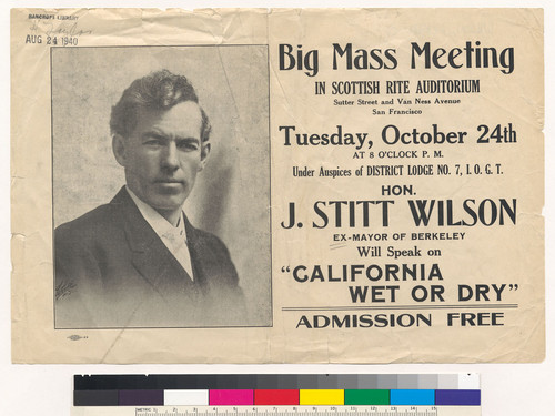 "Flier for ""Big Mass Meeting in Scottish Rite Auditorium"" featuring speaker Jackson Stitt Wilson"