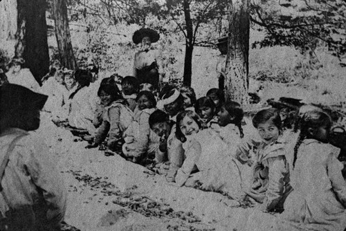 Picnic with Greenville Indian Students--Annie Morgan, Edith Peconom, Alice Piazzoni, and Lizette Pansy Mason in photograph