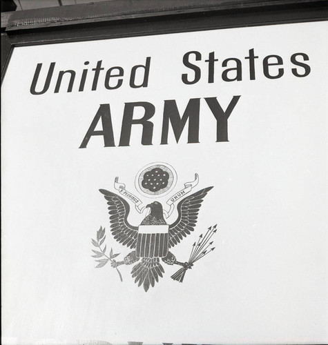 Army Recruiting Service sign at Camp Stoneman close up