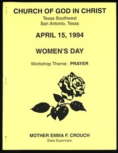 Women's day program, workshop, Texas southwest, COGIC, San Antonio, 1994 (copy 1)