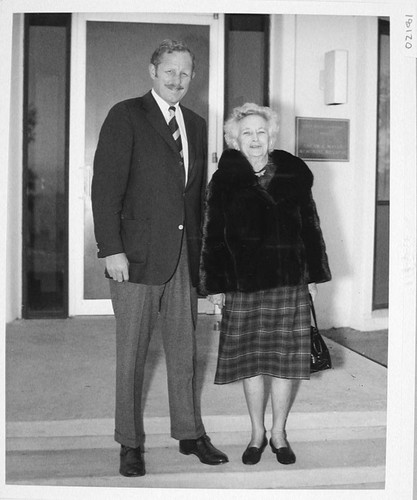 George Hale and Margaret Hale Scherer outside the Oscar G. Mayer memorial building, Palomar Observatory