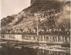 Railroad loaded with cars in Mendocino County, about 1915