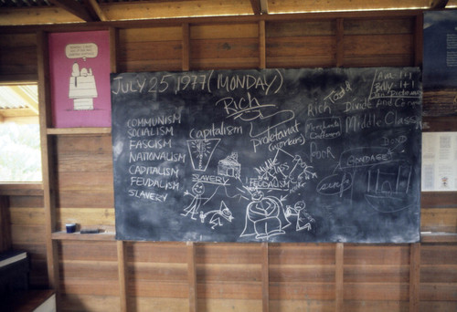 Blackboard in schoolroom, Jonestown, Guyana