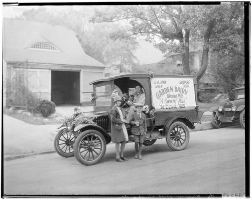 "Garden Dairy ""Square Deal Raw Milk"" delivery truck, 3425 East Colorado. 1927"