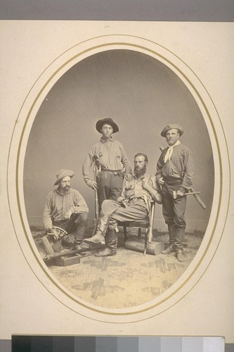 Field Party of 1864, L-R: James T. Gardner, Richard Cotter, W.H. Brewer, Clarence King. Prof. J.D. Whitney, with the regards of Wm. H. Brewer [Original shelved: Cal. State Geological Survey:4, POR]
